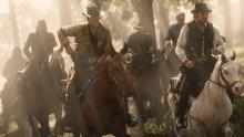 Arthur, Dutch, and the rest of the gang on their way to wreak havoc on the civilized world.