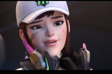 D.va relaxing in her baseball cap while she works on her meka.