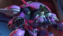 A screenshot of D.va piloting the meka from her cinematic.