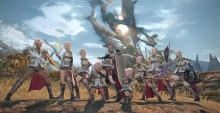 A group of characters cosplaying Lightning from FF13