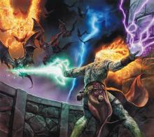 An Evocation Wizard commands many different elements, wielding them against an oncoming onslaught of creatures.