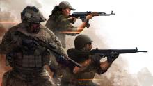 The soldiers entering the sandstorm in Insurgency.