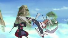 Sasuke fights Killer Bee.