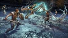 Players team up to fight enemies, for example an elemental dragon skeleton.