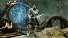 A warrior stands next to a portal in ESO