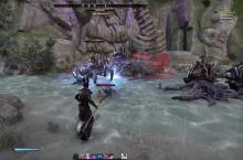 Elder Scrolls Online character uses magic to fight against Yaghara Monstrosity