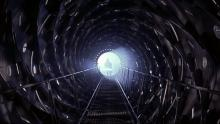 Cylindrical hallway aboard the Event Horizon