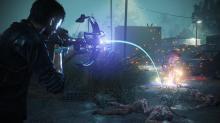 Sebastian Castellanos aims an explosive crossbow bolt at a zombie