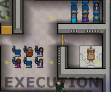 The staff and witnesses prepare for an inmate's execution in Prison Architect