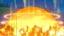 A massive Pokemon attack going off.