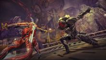 Face to face battle with one of the monsters of Warframe.