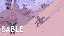 Main character in Sable sliding down a sand mountain.