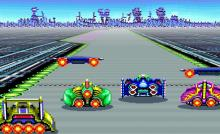 Race with up to four opponents in this vintage 2D racing game