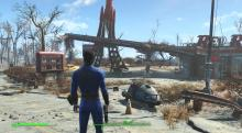 Fallout chharacter stands against a bleak backdrop searching for the next adventure