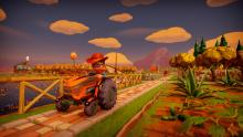 Player rides a speeding tractor along the path.