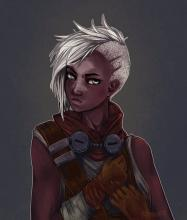 Fan art portraying a feminine version of the Boy Who Shattered time