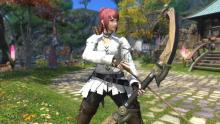An Archer poses in Gridania with their weapon
