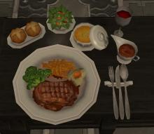 A hearty meal displayed on a table