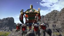 The Mikoshi in flight with the Namazu barely hanging on