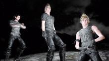 The boys wearing jacketless versions of the Kingsglaive Garb