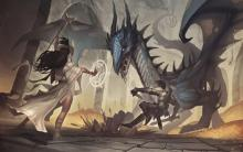 A small party fights an angry dragon!