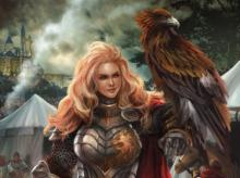 With her hawk companion, a seasoned warrior awaits her next conquest.