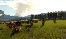 Characters travelling through grassy terrain via chocobo