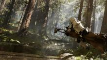 Scout Trooper rides his speeder and enjoys countryside on Endor.