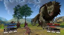 Petra fighting off a demonic beast