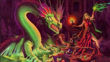 An old illustration of a wizard and her friend facing a dragon.