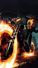 Johnny Blaze riding his iconic motorcycle.