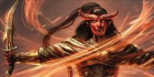 A tiefling mage covers themself in a fiery shield. Whisps of flame dance around their body.