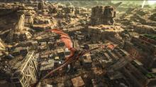 Fire Wyvern Flying Over and Adobe Village on Scorched Earth