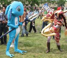The slippery champion seen here next to the dragon of the rift in a real life portrayal