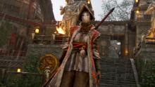 A Nobushi stands before a Samurai stronghold