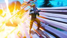 Grab a rocket launcher and destroy enemy player's buildings!