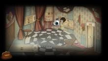 A pentagram on the floor, sideways doors, and a huge eyeball watching. Fran Bow isn't sure which door to open.