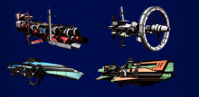 This image showcases the different types of freighters and frigates available in the game.