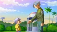 During his visit to the past, Future Trunks also meets and chats with Kid-Trunks. (Don't worry, no world-ending paradoxes occur.) Among other things, the younger Trunks gives his older counterpart a pep-talk about the need to not give up, even against an opponent as strong as Goku Black.
