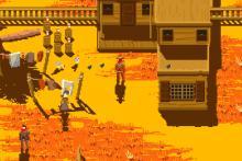 Gorgeous pixel art in Westerado: Double Barreled.