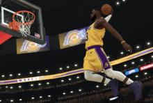 LeBron James flies toward the basket.