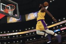 LeBron James flies to the rack.