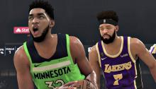 Karl-Anthony Towns attacks the basket.