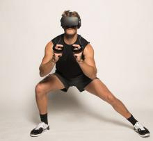 A man performing stretches in VR