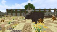 Encounter the rhinoceros during your exploration of the Zoocraft Discoveries mod!