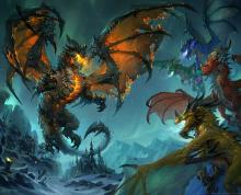 Deathwing battles the other draconic rulers.