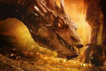 The dragon confronts Bilbo.