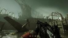 The player looks on to the dark landscape of Wolfenstein.