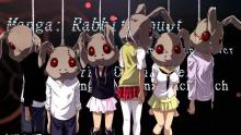 This image features participants of the rabbit doubt game hanging by their necks