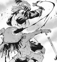 The armored man delivers a killing blow to another goblin in goblin slayer